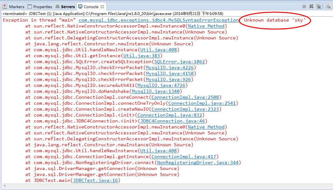 Exception:Unknown database  新手求教