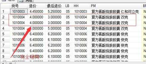 sql语句查询两个表中进价与最后进价不同的数据,求不重复
