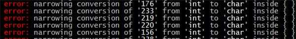 c++11类型收窄错误