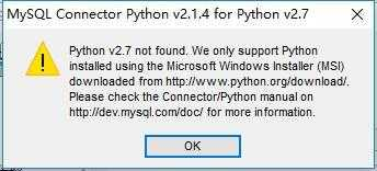 win10 64位安装mysql-connector-python-2.1.4-py2.7-winx64.ms